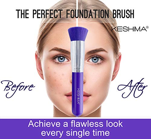 Flat Top Kabuki Foundation Brush By Keshima - Premium Makeup Brush for Liquid, Cream, and Powder - Buffing, Blending, and Face Brush (Regular Size, Neon Purple)