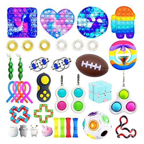 GDZTBS Fidget Toy Set Box, 37pcs Fidget Toys Pop it Set, Anti Stress Spielzeug Set, Sensory Toys für Kinder Erwachsene, Party Favourites (A)