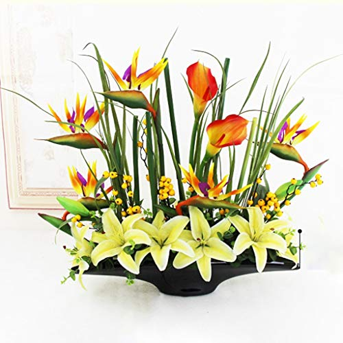 JOYGOOD Artificial Flower Faux Flowers Artificial Flowers in Vase Artificial Indoor Plants Living Room Dining Table Coffee Table Decoration Flower Figurine Hotel Entrance Simulation Flower Set