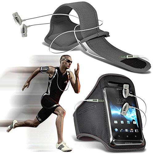 N4U Online ®-Oppo R5 Stilvolle Schutzeinbau Schwimmflügel Sport Laufen Jogging Ridding Bike Cycling Gym Arm Gürtel Tasche mit in-Ear Stereo Kopfhörer/Headset mit integriertem Mikrofon & An-Aus-Schalter, grau