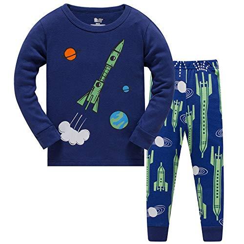DHASIUE Schlafanzug-Set für Jungen, leuchtet im Dunkeln, 100% Baumwolle, Pyjas, Kleinkinder, Kinder, Winter, langärmelig, 1-8 Jahre Gr. 2-3 Jahre, Navy Blue Rocket