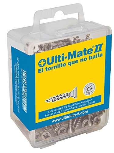 ULTI-MATE II B30016L - Caja grande con tornillos de alto rendimiento para madera acabado ZINCADO de 3,0 x 16 mm.