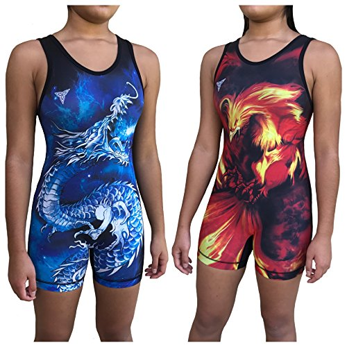 TRI-TITANS Ryū- Dragon vs Phoenix Reversible Red and Blue Sublimated Women's Wrestling Singlet -...