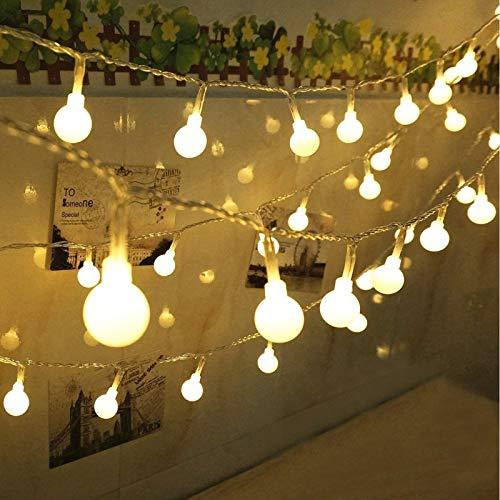 Qedertek Guirlande Lumineuse Electrique, 13M 100 LED Guirlande Boules Multicolore 8 Modes d'éclairage avec Fonction Mémoire et Minuterie pour Décorer l'Arbre de Noël, Mariage, Anniversaire