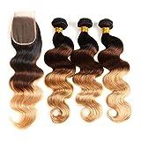 Ombre Brazilian Hair Body Wave 3 Tone Ombre Bundles Human Hair, 3 Ombre Hair Bundles With Closure Ombre Body Wave Ombre Bundles (T1B/4/27, 18 20 22+18)