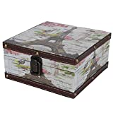 Uxsiya Caja de regalo de piel sintética de estilo británico, resistente a los arañazos, conveniente para usar para fotos antiguas, documentos familiares para cosméticos, joyas