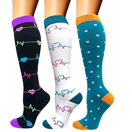 Calcetines de compresión para mujeres y hombres: los mejores calcetines médicos, para correr, enfermería, circulación y recuperación, senderismo, viajes y vuelo, 20-25 mmHg A09-multicolor-3 pairs S/M