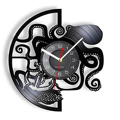 Reloj de Pared de Vinilo de Pulpo Negro, Disco de Vinilo Real, pez Diablo, Animal Marino, decoración del hogar, Tranquilo, sin garrapatas, para Dormitorio