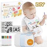 Lictin 28 pcs DIY Baberos para Bebé, 10 pcs Baberos de Bebé Impermeables de...