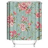 LLLTONG Duschvorhang Mehltau Kirschblüte Kirsche Duschvorhang, waschbarer dekorativer Duschvorhang, wasserdichtes Badewannenzubehör Kleine Blumen