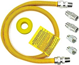 MCAMPAS 48Inch Safety-Shield Gas Appliance Kitchen Flexible Hose Connector Kit - 5/8 In. OD (1/2 In. ID) 1/2 In. MIP X 1/2 In. MIP X 3/4 In. MIP X 48 In. Length Yellow Coated