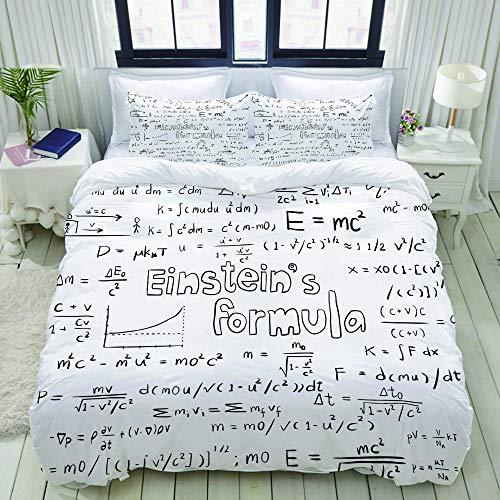Popsastaresa Bedding Juego de Funda de Edredón,Albert Einstein teoría de la Ley y física fórmula matemática ecuación Doodle Icono de Escritura a Mano,Funda de Nórdico y 2 Fundas de Almohada Do