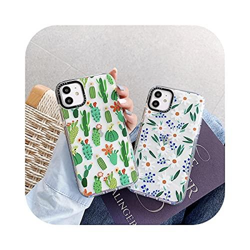 Marca de lujo planta cactus flor patrón transparente suave silicona teléfono caso para iPhone 11 Pro Max X XR XS MAX 7 8 más cubierta