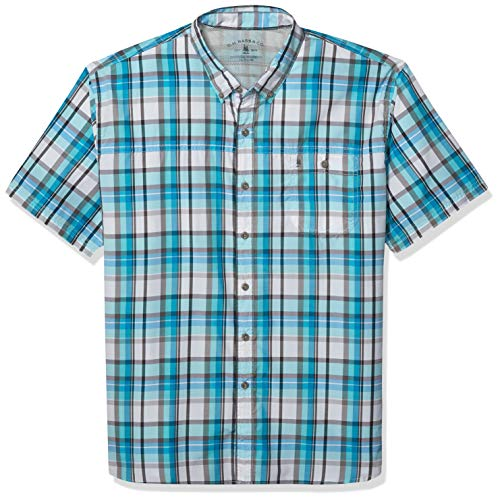 G.H. Bass & Co. Men's Explorer Short Sleeve Fishing Shirt Plaid Button Pocket, Blue Radiance, Medium