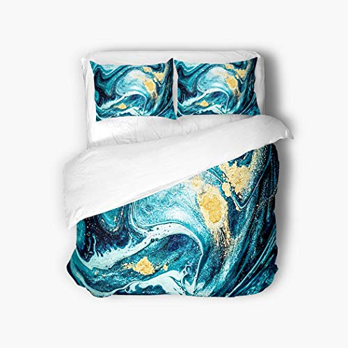 Vintage Ocean Duvet Cover Set,Abstract Ocean Art Natural Luxury Incorporates,3 Piece Bedding Breathable Fluffy Soft Flannel Fabric Set with 2 Pillow Covers Twin Size,Queen 90'x90'