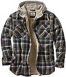 Legendary Whitetails Men's Standard Camp Night Berber Lined Hooded Flannel Shirt Jacket, Upland Plaid, Large