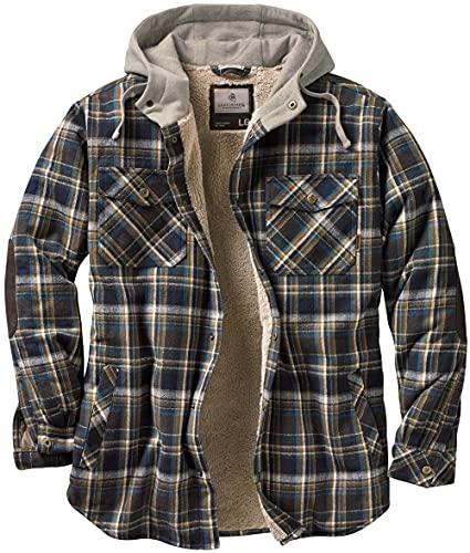 Legendary Whitetails Men s Standard Camp Night Berber Lined Hooded Flannel Shirt Jacket, Upland Plaid, Large