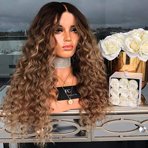Iusun Curly Wigs,22'' Women's Front Lace Long Beauty Wave Rose/Lace Inner Net Resistant Synthetic Wigs Full Hair Cosplay Costume Wigs Daily Party Anime Hair Wig High Temperature Fiber (Lace Inner Net)