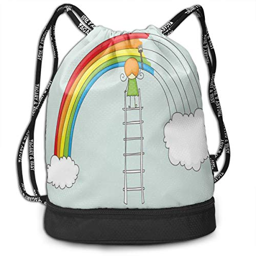 DPASIi Drawstring Backpacks Daypack Bags,Doodle of A Girl On Ladder Painting Rainbow with Clouds On Pale Toned Background,Adjustable String Closure