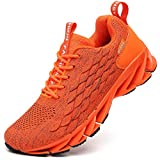 Sneakers for Men Orange Running Shoes Cross Trainers Runner Stylish Sport Athletic Tennis Walking Jogging Sneaker Size 11 mesh Breathable