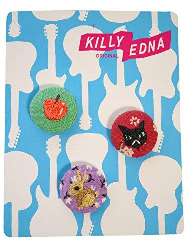 KILLYEDNA(キリィエドナ) 刺繍くるみボタン キリーズマーブル 3個セット20mm アソートB