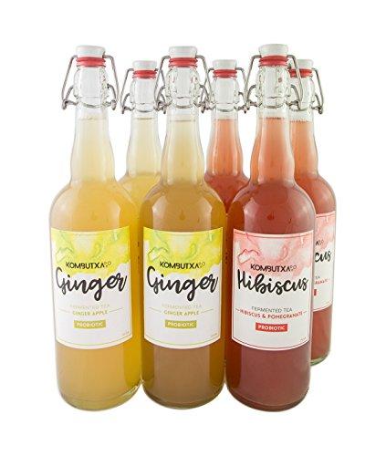 KOMBUTXA TE KOMBUCHA BEBIDA ECOLOGICA - 6x750ml te fermentado bio organic tea bebida energetica sin azucar añadido (Pack Ginger + Hibiscus)