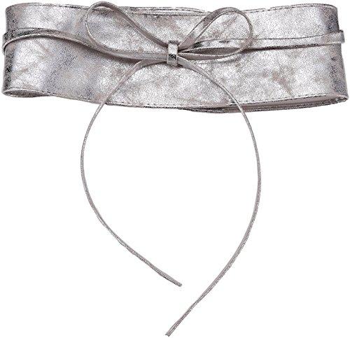 KRISP Damen Gürtel Taillengürtel Breiter Wickelgürtel zum Binden, Silbergrau, 14987-SILGRY-OS