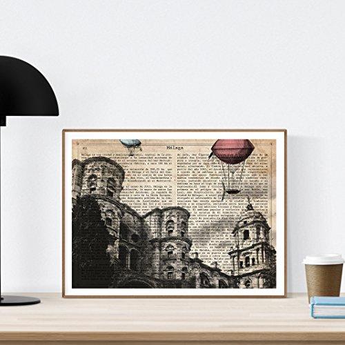 Nacnic Lámina Ciudad de Malaga. Estilo Vintage. Ilustración, fotografía y Collage con la Historia DE Malaga. Poster tamaño A4 Impreso en Papel