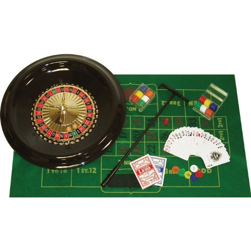 Trademark Home Style 16 Inch Roulette Set with Blackjack Layout, Rake, Chips, Marker and Ball - Includes 2 Bonus Decks of Cards!