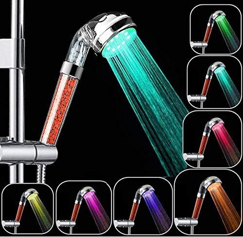 Jopee Stone Ionic - Alcachofa de ducha con LED, 7 colores cambiantes, filtro de ducha de alta presión, 30% ahorro de agua, rociador de ducha con mango iónico negativo (rojo)