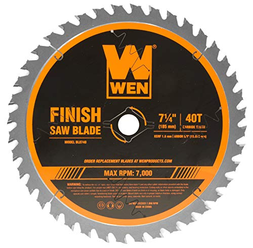 WEN BL0740 7.25-Inch 40-Tooth Carbide-Tipped Professional Finish Saw Blade for Miter Saws and Circular Saws