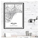 Chihie Impresión del Cartel del Mapa de Málaga Lienzo   Póster Lienzo Impreso Mapa de la Ciudad de Málaga-50X70cm Sin Marco