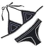 FLORAVOGUE - Bañador de dos piezas de neopreno para mujer -  Negro -  X-Large 38-40