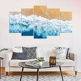 WKXZZS Cuadro en Lienzo 200x100cm Impresión de 5 Piezas Palm Coast Florida Fotografía Marina Material Tejido no Tejido Impresión Artística Imagen Gráfica Decoracion de Pared