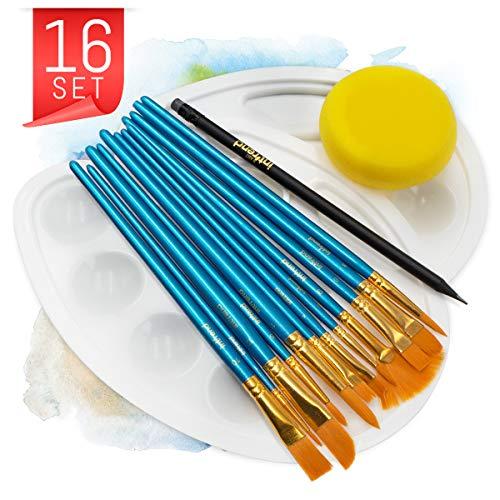 int!rend 12 Premium Künstlerpinsel Set, 2 Mischpaletten, 1 Schwamm, 1 Bleistift, für Aquarell, Acryl und öl Farben, Pinsel zum Malen für Anfänger, Kinder und Künstler