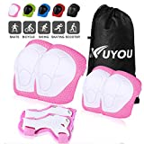 Sports Protective Gear Safety Pad Safeguard (Knee Elbow Wrist) Support Pad Set Equipment for Kids Roller Bicycle BMX Bike Skateboard Protector Guards Pads(Pink)