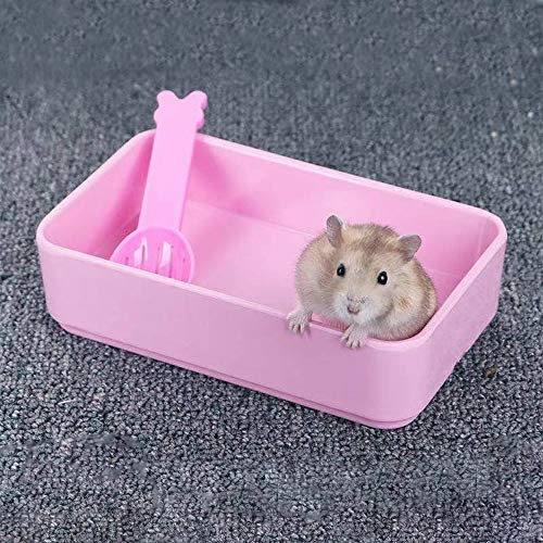 JUILE YUAN 2pcs Small Animal Pet Rectangle Potty Trainer Corner Bunny Toilet, Hamster Sand Bath Plastic Box for Mouse, Syrian Hamster,Chinchilla, Rat, Gerbil and Dwarf Hamster (Pink)