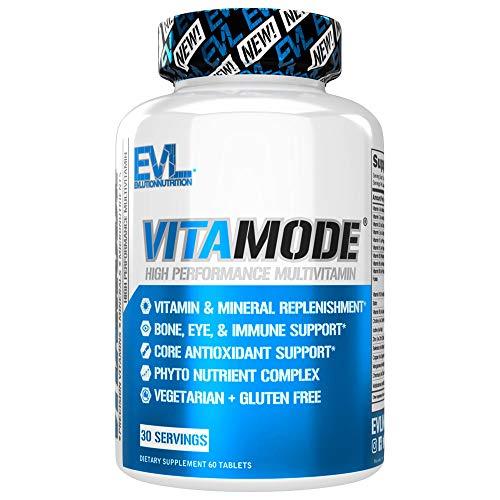 Evlution Nutrition VitaMode High Performance Men's Multivitamin, Full Spectrum Vitamins & Minerals, Immune Health, VitaminE, C & D, Zinc, Antioxidants, Skin, Hair, Bone, Eye Health (30 Servings)