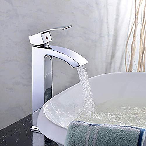 YUQIYU De Gama Alta de Plata Moderno baño Grifo del Fregadero - Cascada Chrome Barco Solo Orificio/Una Sola manija baño Grifo del Hotel Pretty