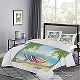 UNOSEKS LANZON - Juego de edredón para niños, hamaca entre palmeras en la playa, diseño de dibujos animados, composición digital, muy suave, cómodo y elegante, multicolor, tamaño doble