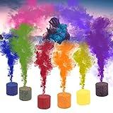 QUICKLYLY-6pcs Pastel de Humo Efecto de Humo Colorido Mostrar Bomba Redonda Etapa Ayuda fotográfica,Rojo, Amarillo, Azul, Verde, Naranja, Púrpura