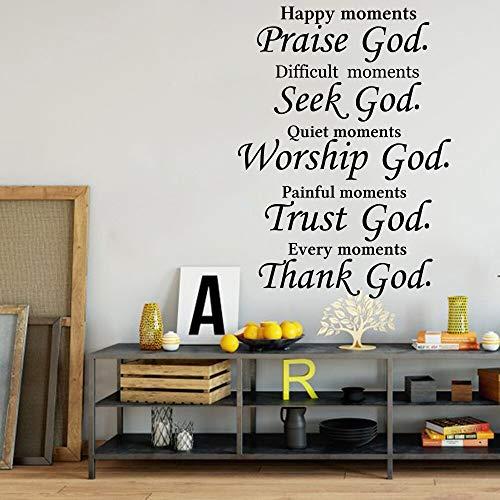 Ofomox Christliches Lob auf der Suche nach Gott zitiert Wandtattoo Schlafzimmer Wohnzimmer Bibelverse Religiöses Vertrauen Anbetung Gott sei Dank Wandaufkleber Vinyl56cmx41cm