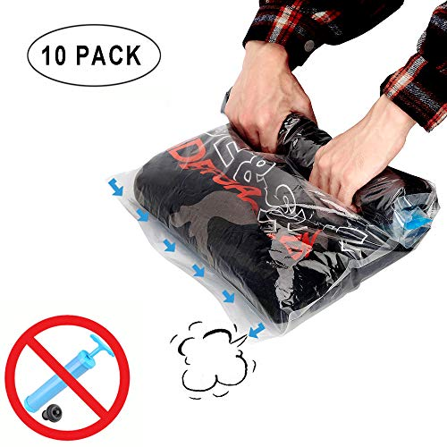 vivicare Space Saver Storage Bags for Travel, Hand Rolling Up Compression Bags No Pump Needed, Packing Organizers. Perfect for Home Storage