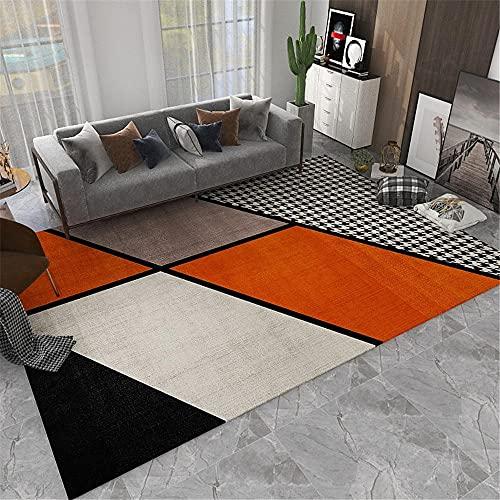 Alfombra Suelo Radiante electrico Antideslizante Carpeta de diseño geométrico Naranja Gris Negro Resistente a la decoloración recibidor Pasillo Entrada Alfombra Puerta Entrada casa 120*170CM