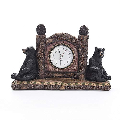 wksee Sculpture Animalière Statue De Personnage Boîte À Bijoux Animaux Resin Crafts Practical Small Clock Home Bear Home Study Office Desk Decoration