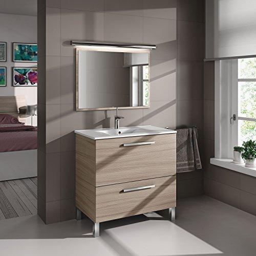 Abitti Mueble Lavabo de baño Aseo con lavamanos cerámico y Espejo Incluido, Puerta abatible y cajón con Interior Textil 80x80x45cm