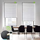 Yoolax Motorized Venetian Blinds Work with Alexa, Light Filtering Sheer Smart Horizontal Blinds Customized Size, Blackout Aluminum Electric Window Blinds with Remote for Home Office (White)