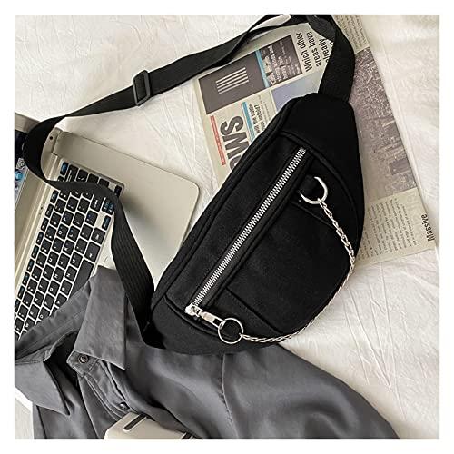 GLADMIN Mujer Cadena Cintura Bolsa señoras diseñador Lienzo Fanny Pack Moda Viaje Dinero teléfono Pecho plátano Bolso Femenino Bolsas de cinturón (Color : Black)