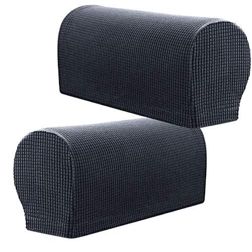 PBIEHSR Armlehnenbezüge, Stretch Sessel, Couch Armlehne Stuhlbezüge für Möbelschutz, Anti-Rutsch-Sofa-Stuhl-Armkappen Spandex Polyester Schonbezüge, Set von 2 (Grau)
