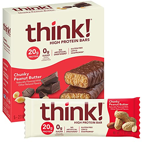 think! High Protein Bars - Chunky Peanut Butter, 20g Protein, 0g Sugar, No Artificial Sweeteners, GMO Free, 2.1 oz bar (30 Count)